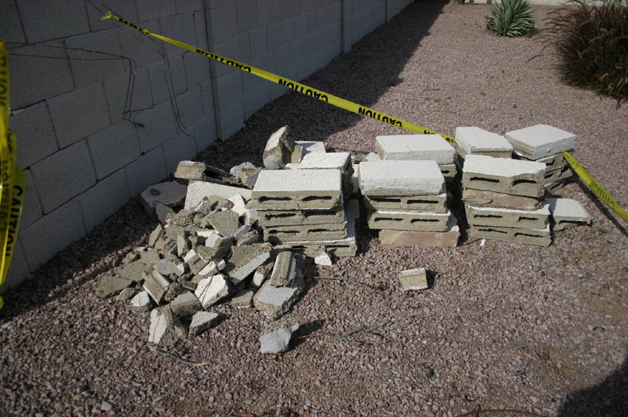 A pileup of the bricks, some of which may be salvageable for repair