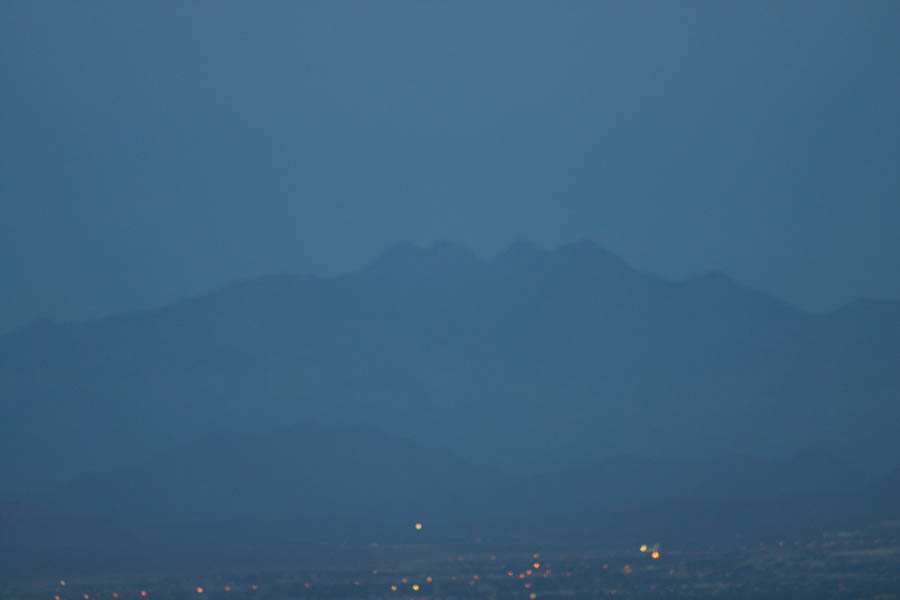 Four Peaks from South Mountain lookout (300mm, f/5.6, 1/15 sec, ISO 400)<!--CRW_1870.CRW-->